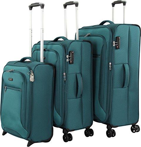 d & n Travel Line 6400 2/4-rollen kofferset 3-delig, petrol (blauw) - 6404-16