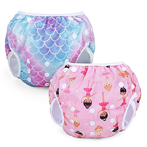 Teamoy Pañales reutilizables para nadar (paquete de 2), pañales ajustables para traje de baño, fundas lavables para bebés, niños y niñas, Sirena Libra + niña de ballet
