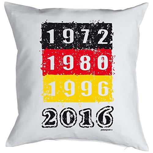 Fußball Fanartikel: Europameisterschaft Kissen mit Füllung - 1972 1980 1996 2016 - Farbe: schwarz