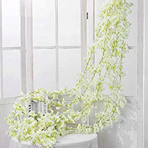 Shiwaki 2PCS 180cm/70inch Artificial Flower Cherry Blossom Rattan Wedding Cherry Blossom Rattan String Decoration Hanging Decorative Flower Cherry Blossom Rattan-White