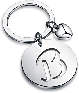 HOLLP Silver Initial Disc Charm Keychain 26 Initial Letter Alphabet Key Ring A-Z Initial English Charm Stainless Steel Initial Keychain for Women