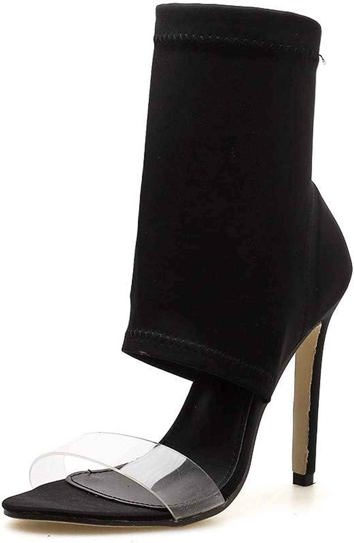 JQfashion Women's High Heels Pointed Slim-Heeled Sandals Transparent Roman shoes
