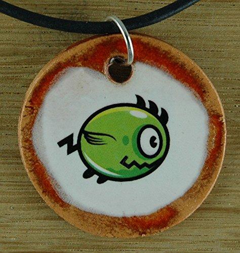 Echtes Kunsthandwerk: Toller Keramik Anhänger mit einem Piranha; Sägesalmler, Fische, Meer, lustig
