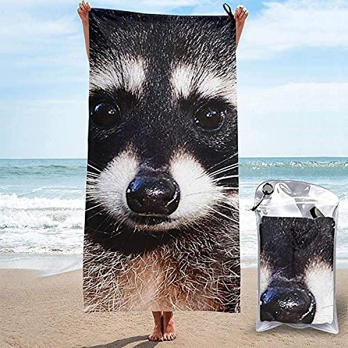 Toalla de Microfibra de Secado rápido, Northern Raccoon Toallas de baño Ultra Suaves para Acampar, Nadar, Playa, baño, 31.5 'x63