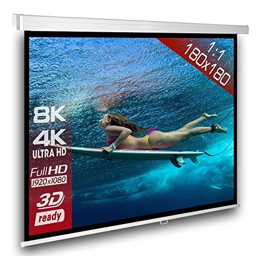 Alphavision*Business SlenderLine Beamer Leinwand 180 x 180 cm   Format 1:1   1.2 Gain   Full-HD 4K 8K & 2D/3D geeignet   manuelle Rolloleinwand für Heimkino und Präsentation   4-Kant Gehäuse