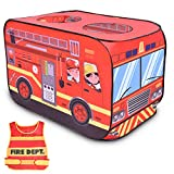 FunLittleToy Fire Truck Pop Up Play Tent for Kids with Fireman Costume, Kids