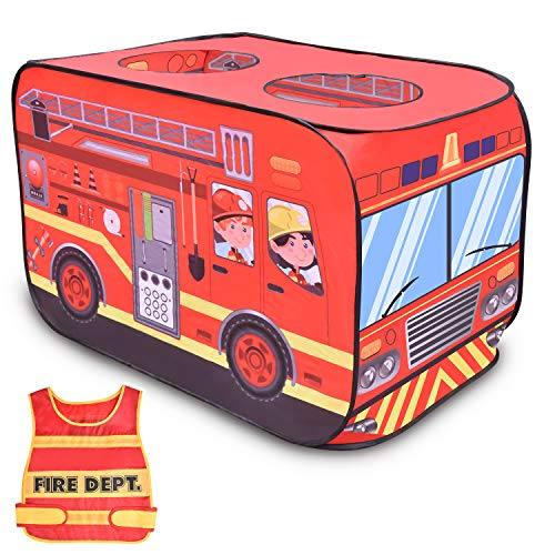 FUN LITTLE TOYS Fire Truck Pop Up Play Tent for Kids with Fireman Costume, Kids Tent for Indoor & Outdoor