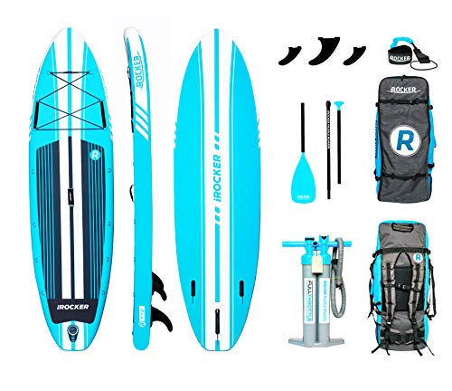 iROCKER All-Around Inflatable Stand Up Paddle Board 11' Long 32' Wide...