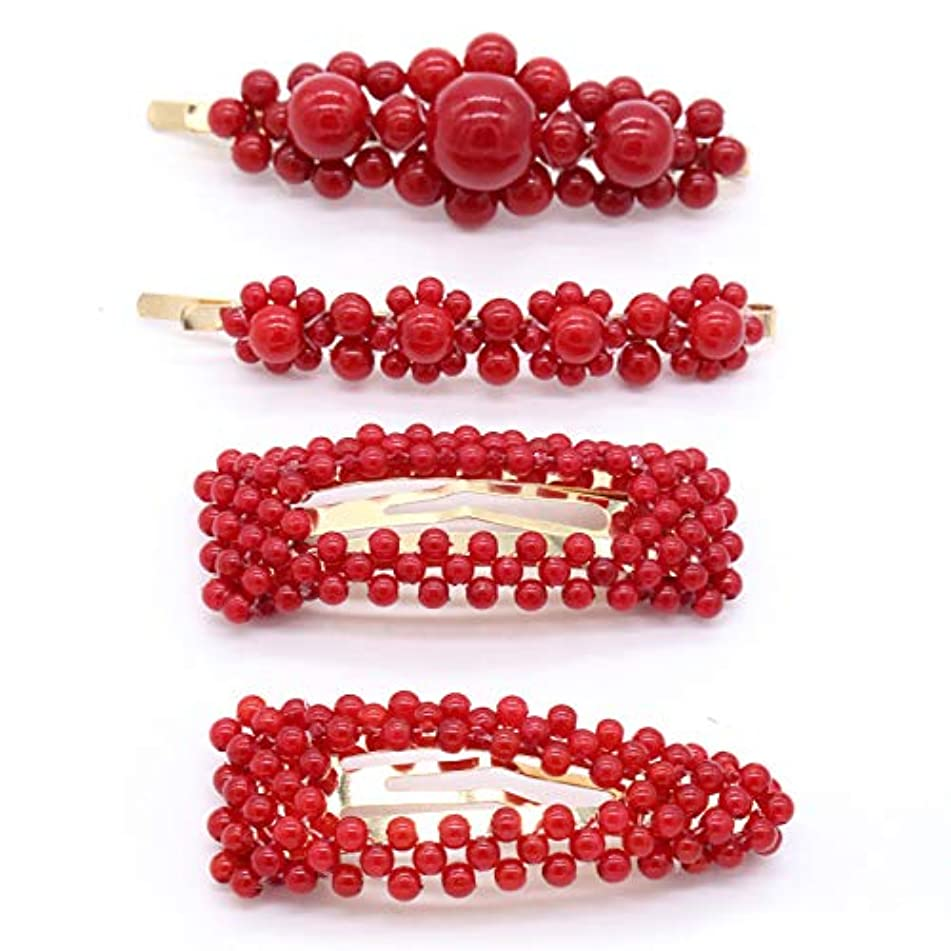 Skyvan Imitation Pearls Hair Clips for Women Girls - 4pcs Large Bows/Clips/Ties for Birthday Valentines Day Gifts Bling Hairpins Headwear Barrette Styling Tools Accessories (Red)