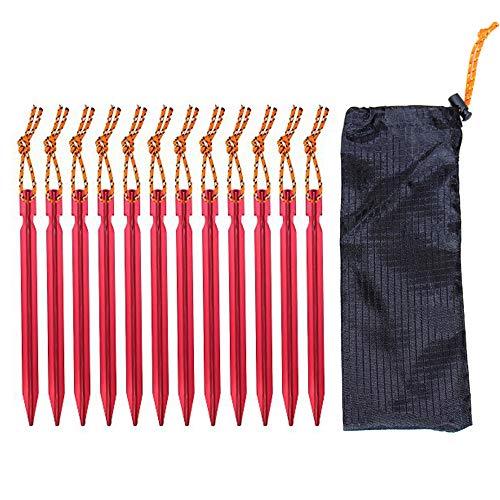 Clavijas de aluminio, 10 piezas tiendas de campaña estacas pesadas de la tienda de peso ligero Clavijas clavos con bolsa de transporte para acampar al aire libre arena terreno duro lugar rocoso (rojo)