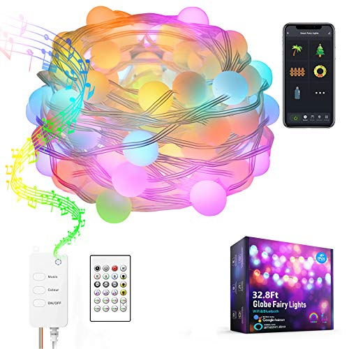 DreamColor Fairy Lights Music Sync, Globe String Light IP65 Waterproof Work with Alexa Google Home, Tuya App Controlled, USB Plug in, Twinkle Lights for Party Living Room Bedroom Patio Garden (32.8FT)