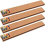 """HBlife Cork Board Bulletin Board Bar Strip 15"""" x 2""""- 1/2"""" Thick, 100% Natural Frameless Cork Board Strips with 50 Multi-Color Push Pins, Strong Self Adhesive Backing - 4 Pack"""