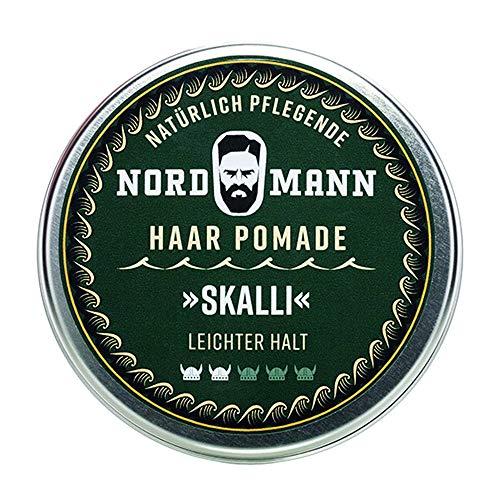 Nordmann Haarpflege Pomade SKALLI | leichter - mittelfester Halt | ölbasierte Haarpomade aus Deutschland | Rockabilly | Duft: Blumen, Fresie | 100ml