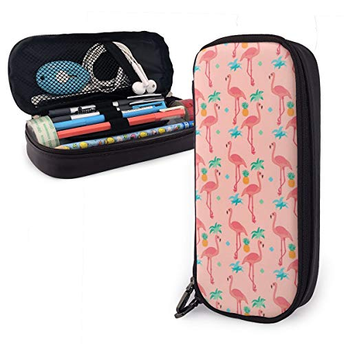 OUYouDeFangA - Bolsa de almacenamiento de piel sintética con diseño de flamenco y textura, portátil, para estudiantes, lápices, oficina, papelería, bolsa, cartera con cremallera, bolsa multifunción para maquillaje