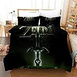 Juego de ropa de cama Yomoco The Legend of Zelda, funda nórdica y dos fundas de almohada, microfibra, impresión digital 3D, juego de cama de tres piezas, 12, 172x218cm