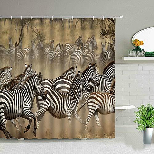 ZZYJKSD Elefant Zebra Tiger Leopard wasserdichte Stoff Duschvorhänge Afrika Tiere Bedruckte Badezimmer Gardinen Badewanne Dekor Mit Haken - 180X200CM