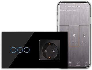 CNBINGO Schuko stopcontact met wifi-lichtschakelaar, 3-voudige smart touch-schakelaar, werkt met Alexa/Google Home, Smart ...