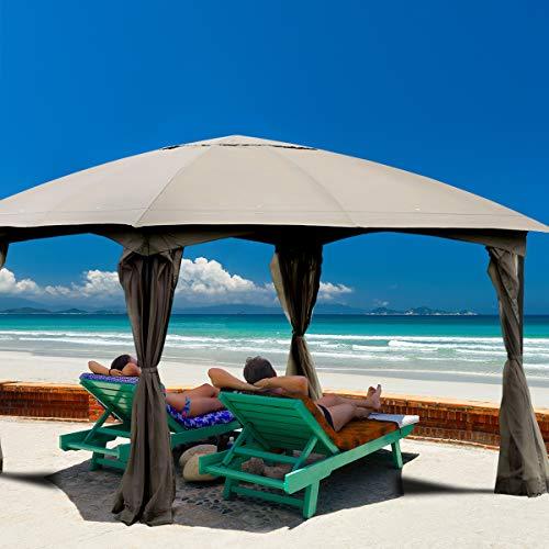 Tangkula 11.5 x 11.5 Feet Large Outdoor Gazebo, Fully Enclosed Canopy Gazebo with Netting, Patio Gazebo Shelter w/ 133 Square Feet of Shade for Patio Lawn Garden Beach Picnic