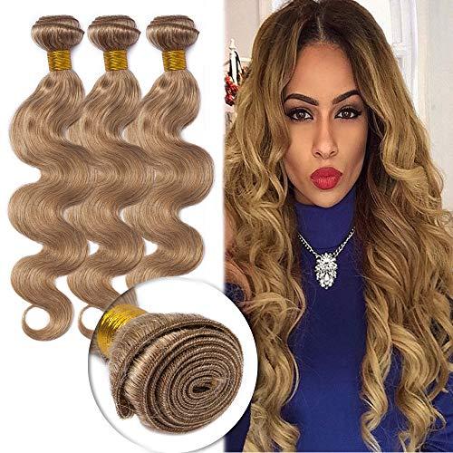 Honey Blonde Hair 3 Bundles Unprocessed Brazilian Human Hair Body Wave Sew in Hair Weave Extensions 100g/Bundle #27 20'