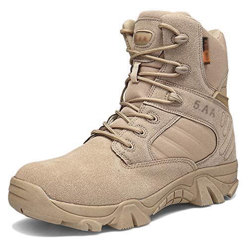 NA High Top Männer Military Combat Boots Abriebfeste Wüste Tactical Boots Outdoor-Jagd Sport Jungle Armee Kletter Patrol Stiefel,Sand color-45