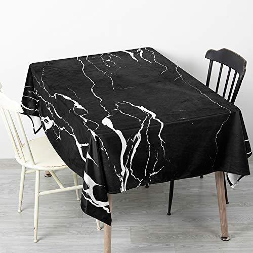 Creek Ywh Nordic in marmeren tafelkleed, rond, rechthoekig, salontafel, fluweel, 140 x 100 cm