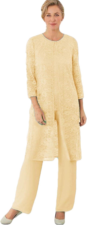 Xixi House 2021 Lace Mother of The Bride Pant Suit Dress 3 Pieces Pant Suits Plus Size Special Occasion Dress
