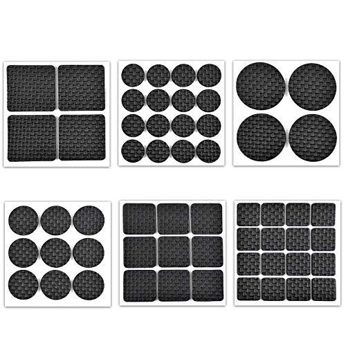 Jinlaili Möbel Pads, 58 Stück Schwarz Möbelpads aus Pads Selbstklebend, 6 Größen EVA Möbelschoner Set, Rutschhemmende Pads für Möbel zum Schutz von Fliesen, Laminat, Hartholzböden