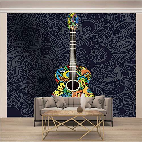 JKM Wallpaper 3D Selbstklebender Wandtapete Vliesstoff Wandgemälde Mehrfachgröße Farbe Muster Musik Gitarre Tapeten Wandbild Hintergrundbild Fototapete Wandbild, Motivtapeten, Vlies-Tapeten Abstrakt V