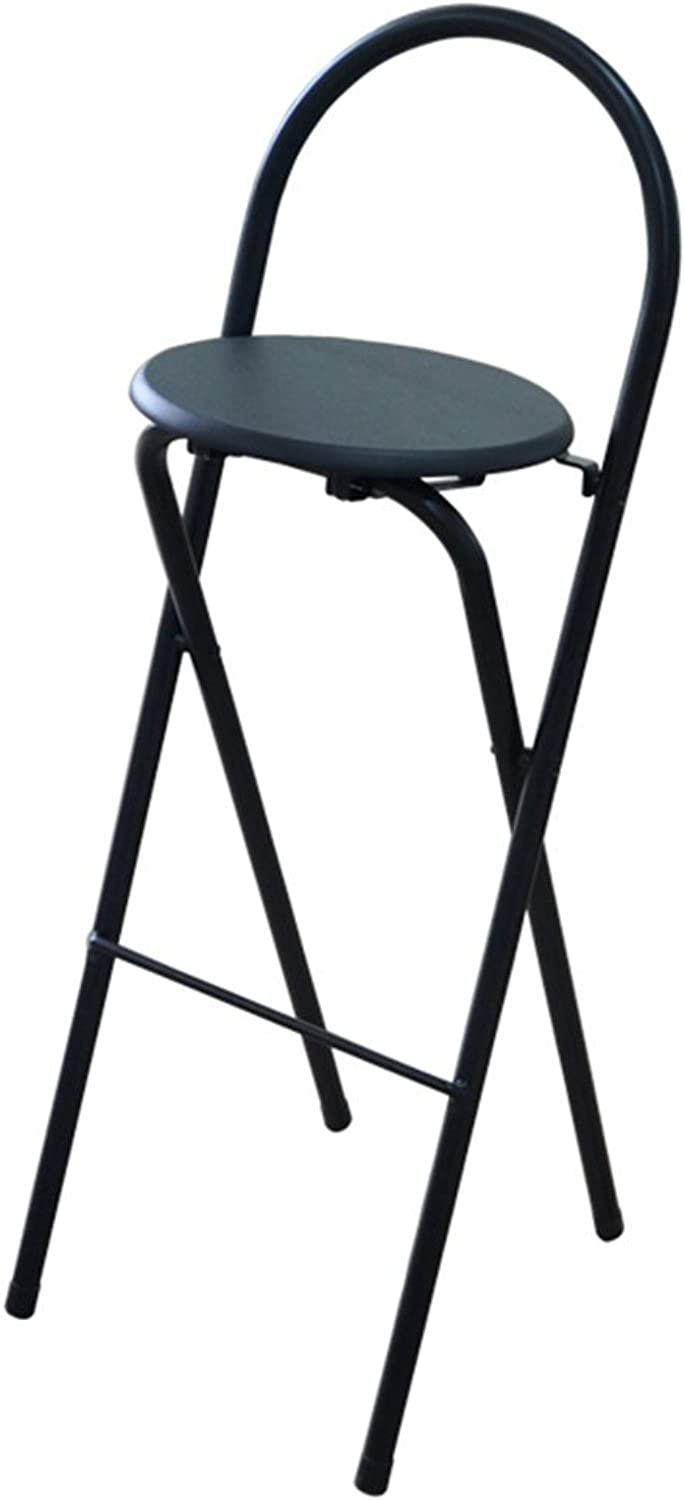 ZHILIAN Folding Stool Modern Minimalist Home bar Stool Dining Chair Portable high Stool (color   Black)