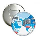 Vector Diagram viaje mapa de ruta de la seda redonda abridor de botellas nevera Imán Pins Badge botón regalo 3pcs