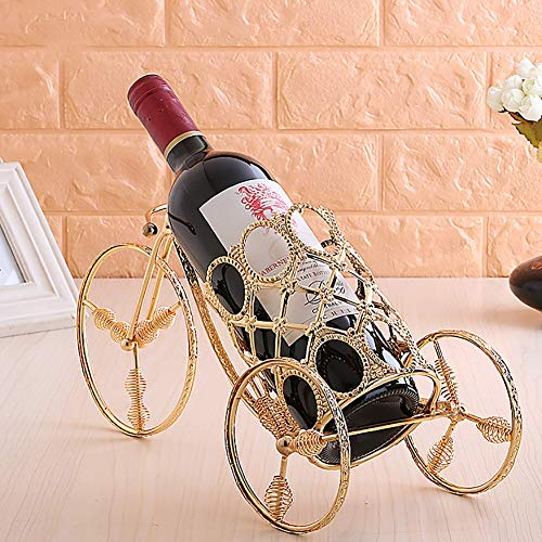 Wrought Iron Gold Tricycle Modeling Wine Rack