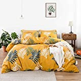 SUSYBAO 3 Piece Duvet Cover Set 100% Cotton Queen Size Yellow Tropical Botanical Plant Print Bedding Set 1 Palm Leaves Pattern Duvet Cover with Zipper Ties 2 Pillowcases Hotel Quality Soft Comfortable