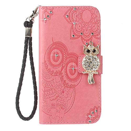 Bear Village® Galaxy S9 Hülle, Brieftasche Leder Schutzhülle mit Kartenfach, Eule Magnet Verschluss Klapp Ständer Hülle für Samsung Galaxy S9, Rosa