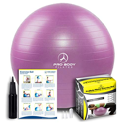 ProBody Pilates Exercise Ball - Professional Grade Anti-Burst Fitness, Balance Ball for Yoga, Birthing, Stability Gym Workout Training and Physical Therapy - Work Out Guide Included (Purple, 55 cm)