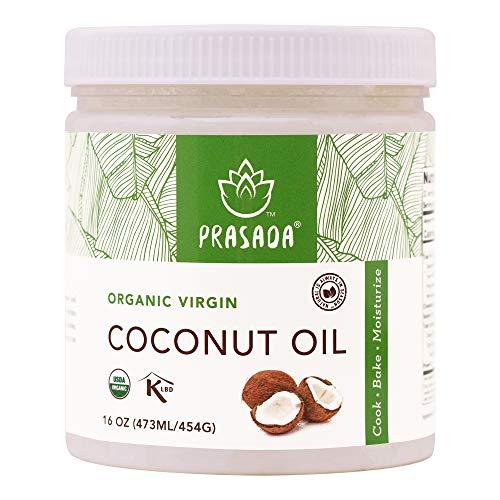 Prasada Organic Virgin Coconut Oil (16oz) | Cold-Pressed, Non-GMO, Single Origin | Perfect for Baking, Frying, Grilling and Cosmetic Application