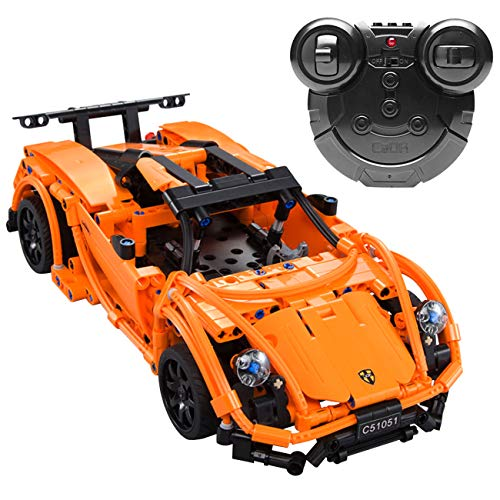 The perseids DIY RC Car Building Kit Toy, 2.4 Ghz Remote Control Vehicle in Orange 421 pcs USB Rechargeable, Gift for 6-14 Years Old Boys Girls