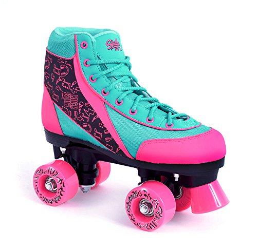 Mädchen / Damen Rollschuhe SMJ Sport Stella neon pink-türkis Gr. 34 35 36 37 38 39 (36)