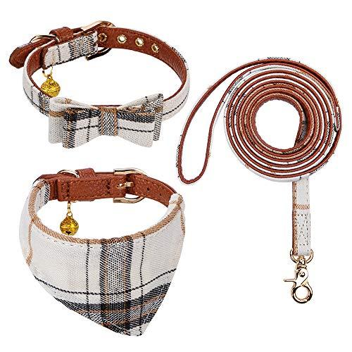 Faleela Set mit Fliege, Hundehalsband und Leine, klassisches Karomuster, verstellbares Hundehalstuch und Halsbänder mit Glöckchen für Welpen, Katzen, 3 Stück (S, beige klassisch)