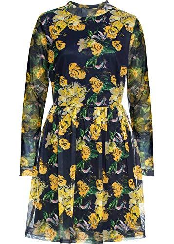 bonprix Mesh Kleid an den Ärmeln leicht transparent, mit Gummibund in der Taille dunkelblau/gelb Bedruckt 40/42 für Damen