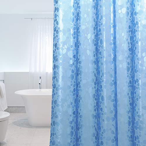 WELTRXE Duschvorhang Anti-Schimmel mit Gewicht Magnet unten, 0.2mm [183x200cm] Wasserdicht Antibakteriell Eva Vorhang für Dusche und Badewanne, 3D Steinmuster Blau, inkl. 12 Duschvorhangringen Kinder