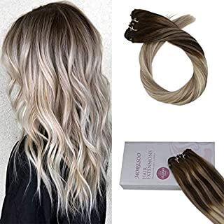Moresoo 16 Inch Balayage Colored Weft #4 Brown Fading to #18 Blonde Highlighted with #60 Blonde Micro Beads Weft Extensions EZ Weft Hair Extensions 50G
