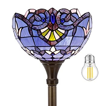 Tiffany Floor Lamp Torchiere Up Lighting W12H66 Inch LED Bulb Included Blue Purple Lavender Stained Glass Baroque Lampshade Antique Standing Iron Base S003C WERFACTORY Lover Liviing Room Bed Room Gift