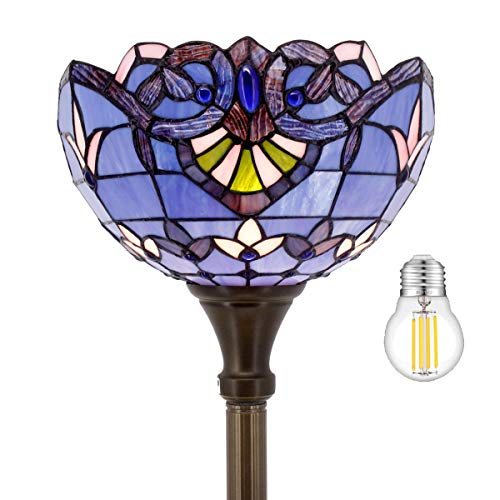 Tiffany Floor Lamp Torchiere Up Lighting W12H66 Inch(LED Bulb Included)Blue Purple Lavender Stained Glass Baroque Lampshade Antique Standing Iron Base S003C WERFACTORY Lover Liviing Room Bed Room Gift