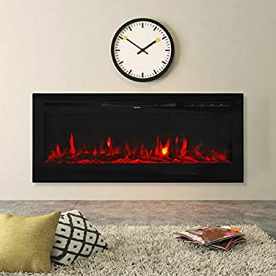 """Kinbor 50"""" Electric Fireplace Insert Recessed in Wall Heat Adjustable Realistic 3-Color Lighting Flame, 1500/750W, Remote Control with Timer, Black"""