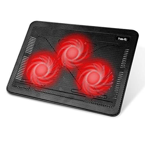 HAVIT Laptop Kühler Cooling Pad/Cooler Ständer, Kühlmatte für 15.6-17 Zoll Notebook, Laptop (3 Ventilatoren), Rot