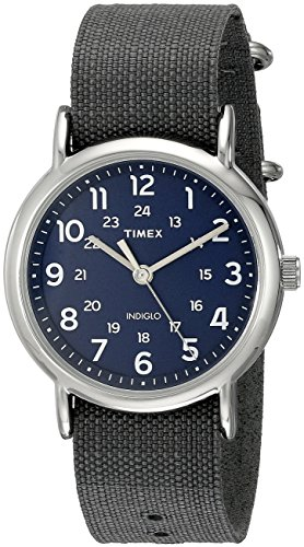 Timex Unisex TW2P657009J Weekender Silver Tone Watch with Grey Nylon Band