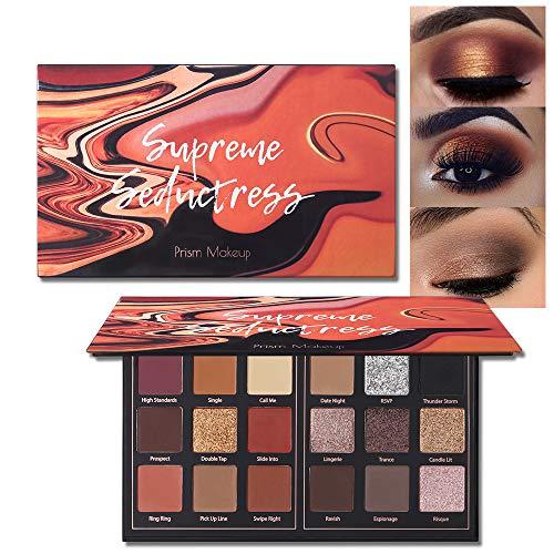 Matte Eyeshadow Palette Pro 18 Colors Pigmented Shimmer Glitter Eye Shadow Palette Blendable Long Lasting Waterproof Makeup Cosmetics Halloween Makeup Kit (01# Seductress)