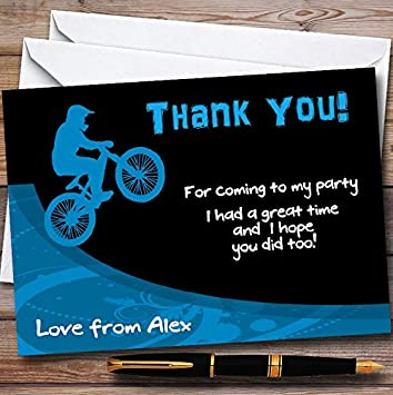 Green BMX Bike Personalized Party Thank You Cards