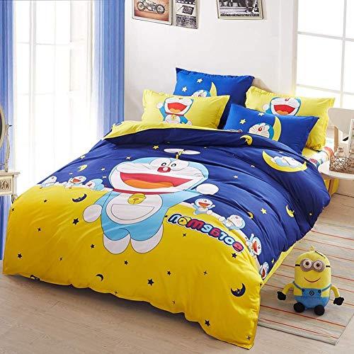 GD-SJK Doraemon - Juego de ropa de cama para niños, 150 x 200 cm, diseño moderno, microfibra, funda nórdica con cremallera, 3 piezas, para niños y niñas