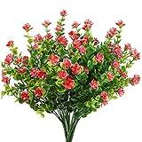 Mila-Amaz 4pcs Plantas artificiales Flores Falsas Artificiales, Arbustos Ramas de Eucalipto Plantas Arbustos de Plástico para Decoración de Mesas de Boda, Hogar, Rojo